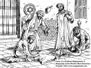 MUHAMMAD INTERROGATES KINANA, the leader of the Nadir Jews of Khaybar, while one of his men pours lamp oil onto a fire that was started on his chest.  Muhammad tortured him so that he would reveal the whereabouts of tribal treasures he had withheld that included gold and silver dinnerware, precious stones and ornaments, and other valuables.  Despite the torture, Kinana refused to tell him, and Muhammad had his head cut off.