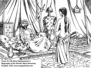 MUHAMMAD TAKES SAFFIYA AS HIS WIFE. Following the torture and beheading of Kinana, Muhammad forced his benumbed widow, a seventeen-year-old woman, into marriage.  He was told of her beauty and had her brought before him. He proposed to her while the headless body of her husband lay in a palm grove nearby, promising her freedom if she married him and adopted his religion.
