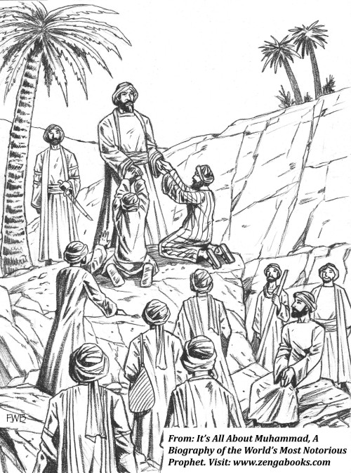 """THE PLEDGE OF AQABA. Muhammad obtained a promise of security from Yathrib (Medina) supporters. Six dozen people came to him in Mecca disguised as pilgrims, and they pledged to fight against """"all and sundry"""" who opposed him. The pledge was essentially a declaration of war against mankind until all people adopted his religion and believed in him as God's messenger."""