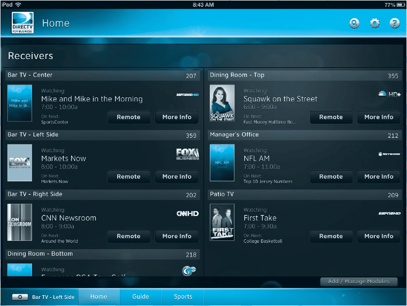 DIRECTV Commercial iPad App for Bars & Restaurants