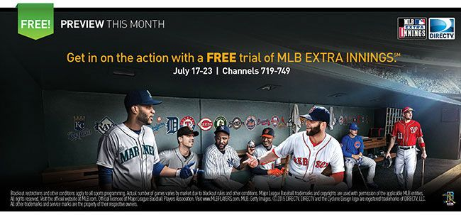 FREE Trial of MLB Extra Innings on DIRECTV July 17-23
