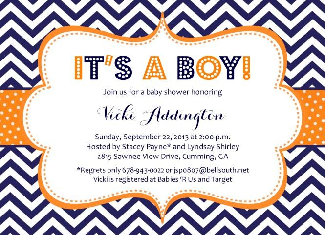 Chevron Baby Navy And Orange Shower Invitation
