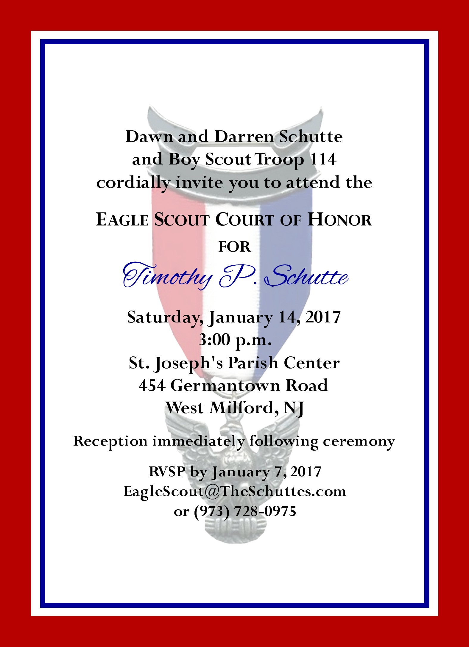 Simple Honors Red Border Eagle Scout Invitation