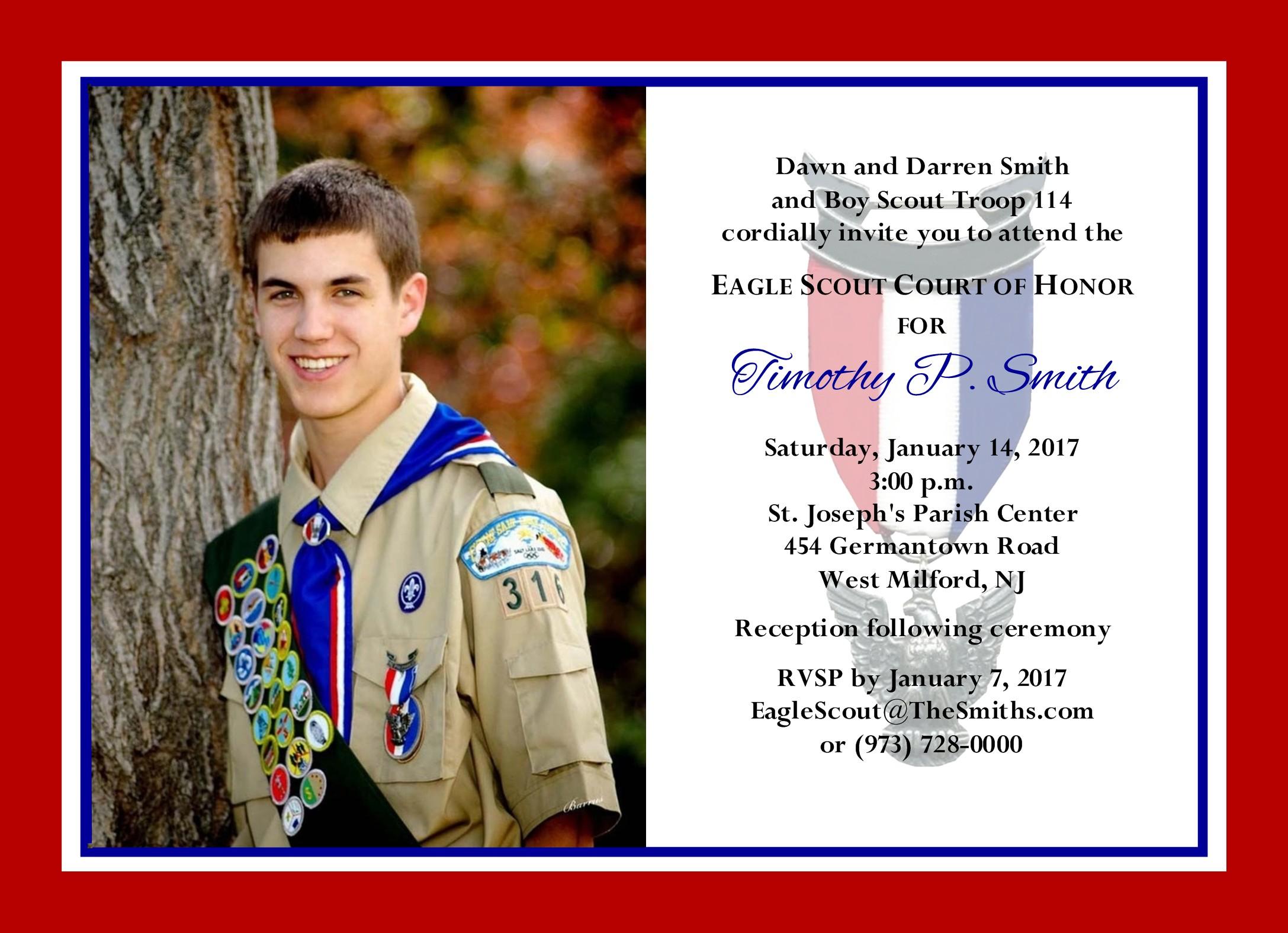 Simple Honors Photo Border Eagle Scout Invitation