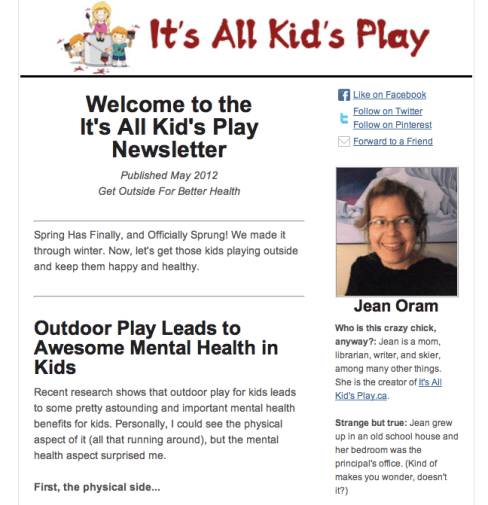 The It's All Kid's Play and Parenting Newsletter