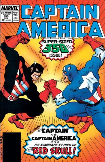 Captain America vs U.S. Agent on the cover of 'Captain America's' 350th issue