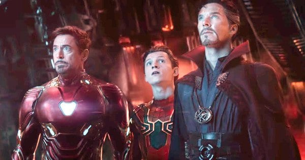 Tony Stark, Peter Parker and Doctor Strange working together in Avengers: Infinity War (2018)