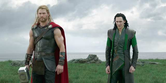 Loki and Thor confronting Hela in Thor: Ragnarok