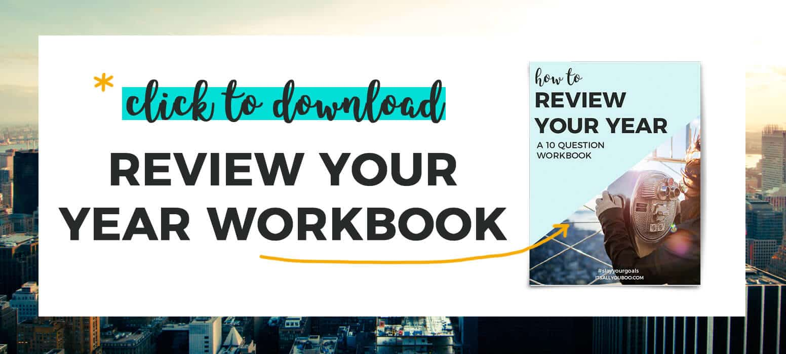 """""""*Click to download your free Review your year workbook"""" with preview of workbook"""