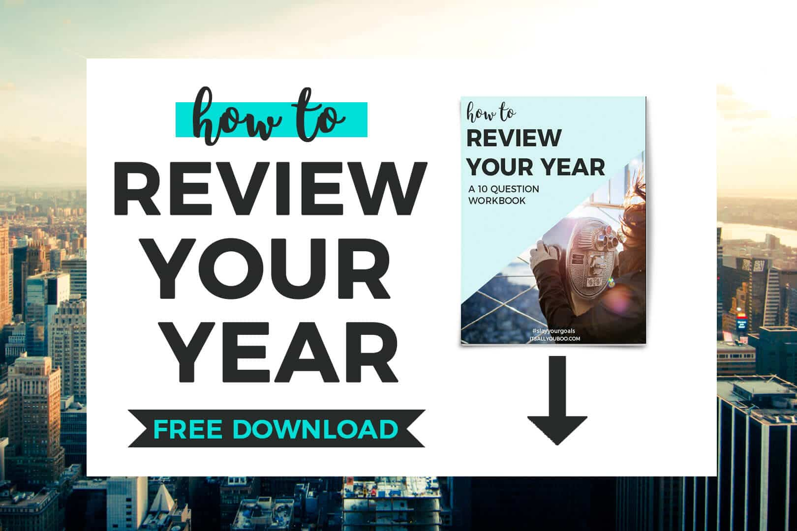 """""""how to review your year, free download"""" and preview image of workbook"""