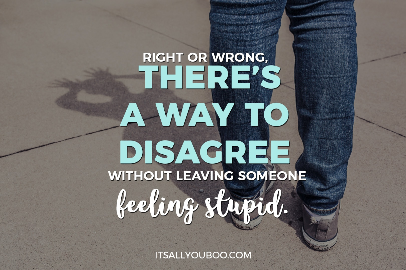 "a photo of a shadow making a funny face with the words, ""there's a way to disagree without leaving someone feeling stupid"""