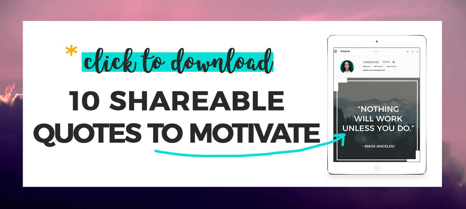 """""""10 shareable quotes to motivate perfect for social media"""" + preview of graphic on iPad"""