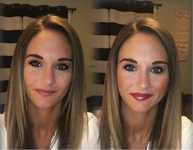 Before and after wearing lipstick