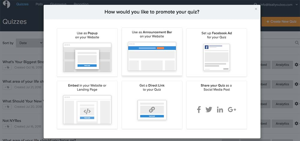 Creating an online quiz with Try Interact