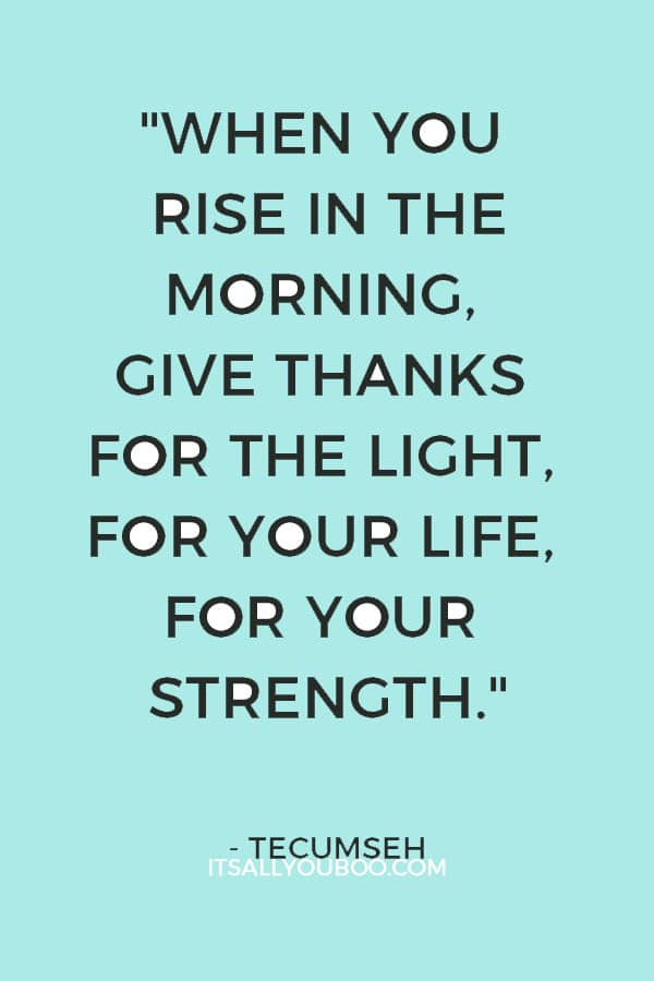 """""""When you rise in the morning, give thanks for the light, for your life, for your strength."""" - Tecumseh"""