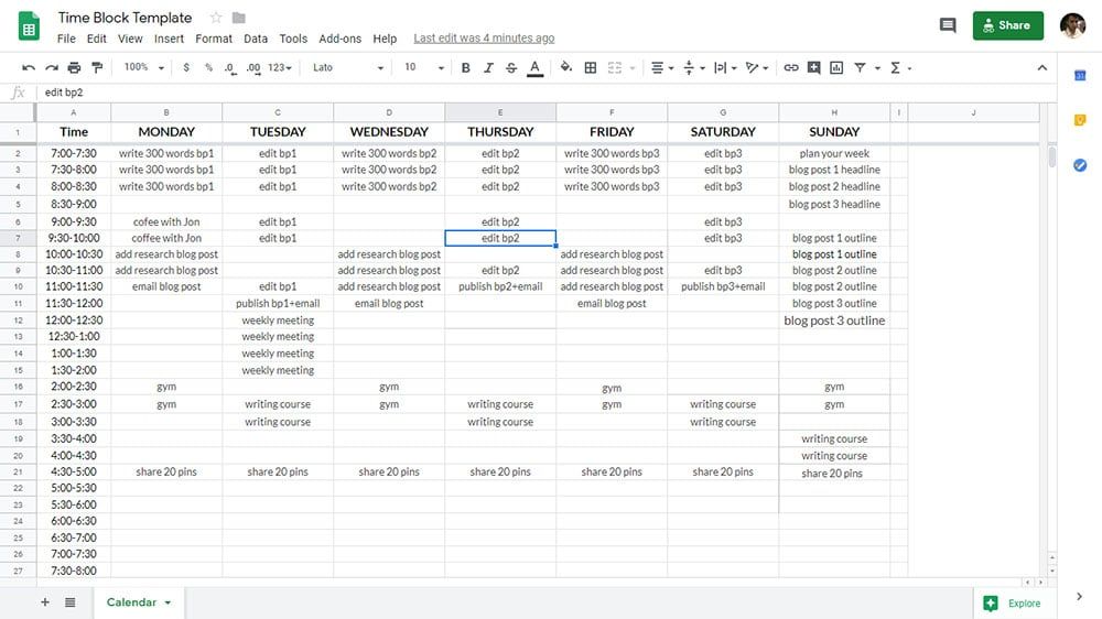 How to time block your day in Google Sheets