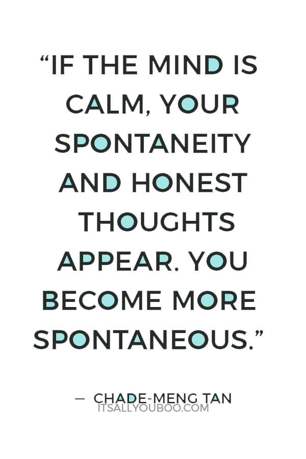 """If the mind is calm, your spontaneity and honest thoughts appear. You become more spontaneous."" — Chade-Meng Tan"