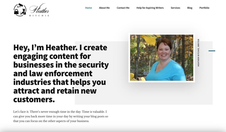 Image of Heather Richie's Freelancing Website