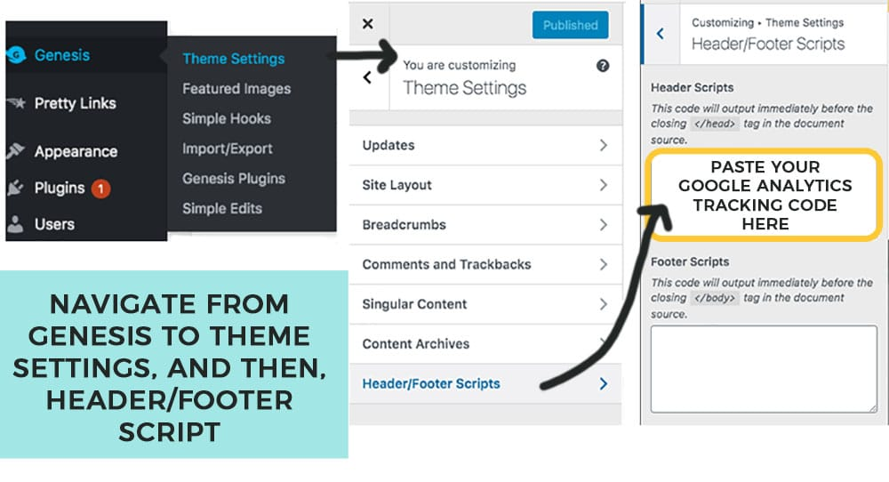 how to paste in your google analytics tracking code to new blog