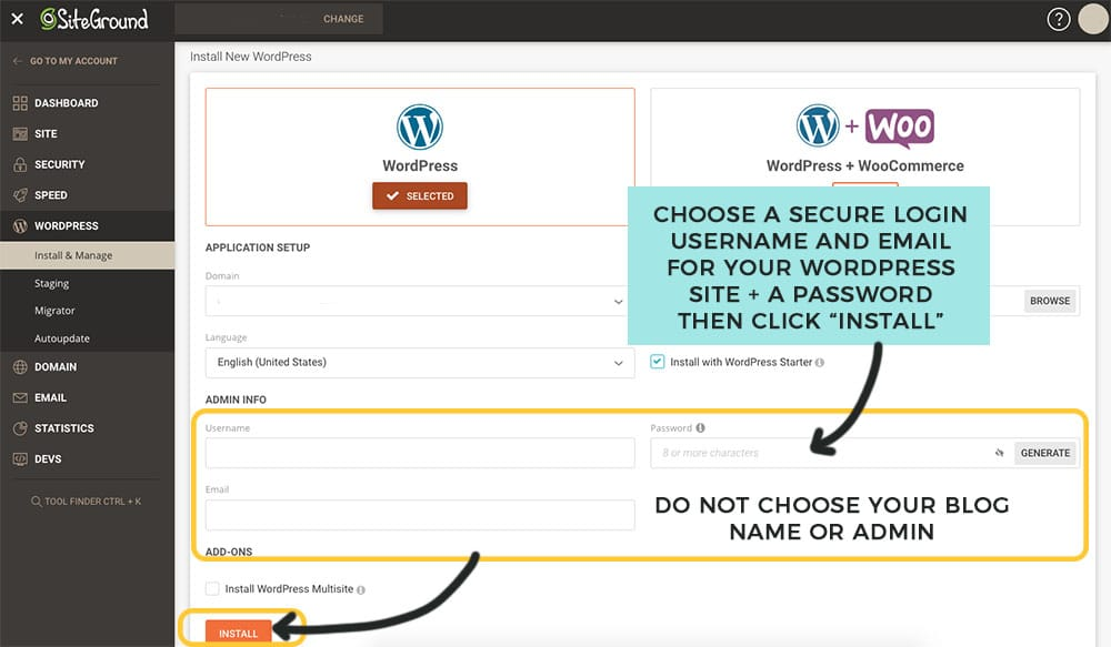 choose a username and password for your siteground wordpress blog