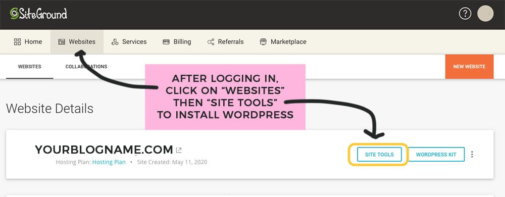 log into siteground to install wordpress to start your blog