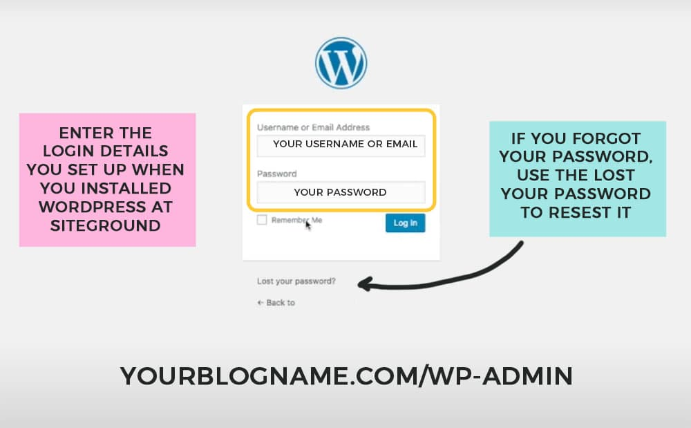 how to log into your new wordpress blog