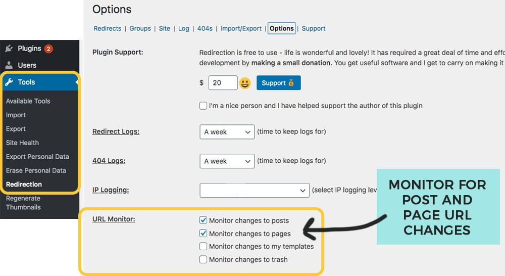 turn on redirection for URL changes