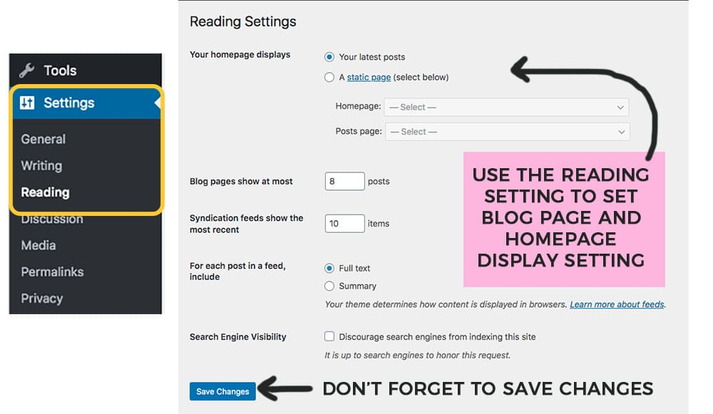 how to set your homepage blog posts setting