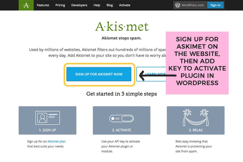 sign up for an askimet account