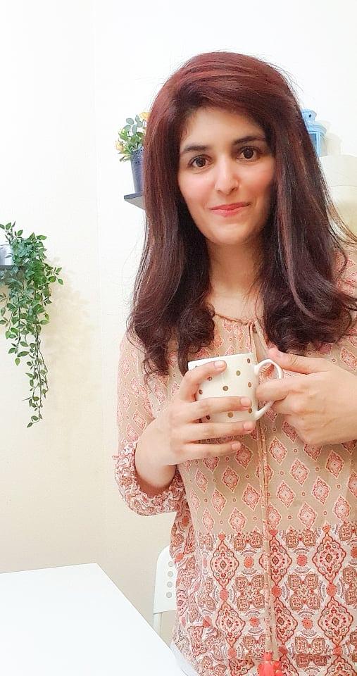 Samia Nadeem drinking tea