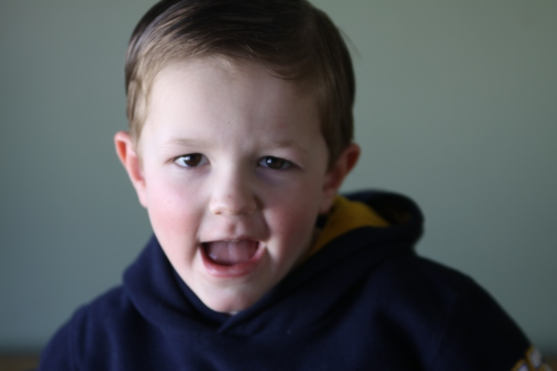 A young child with light hitting one side of face, other side in shadow
