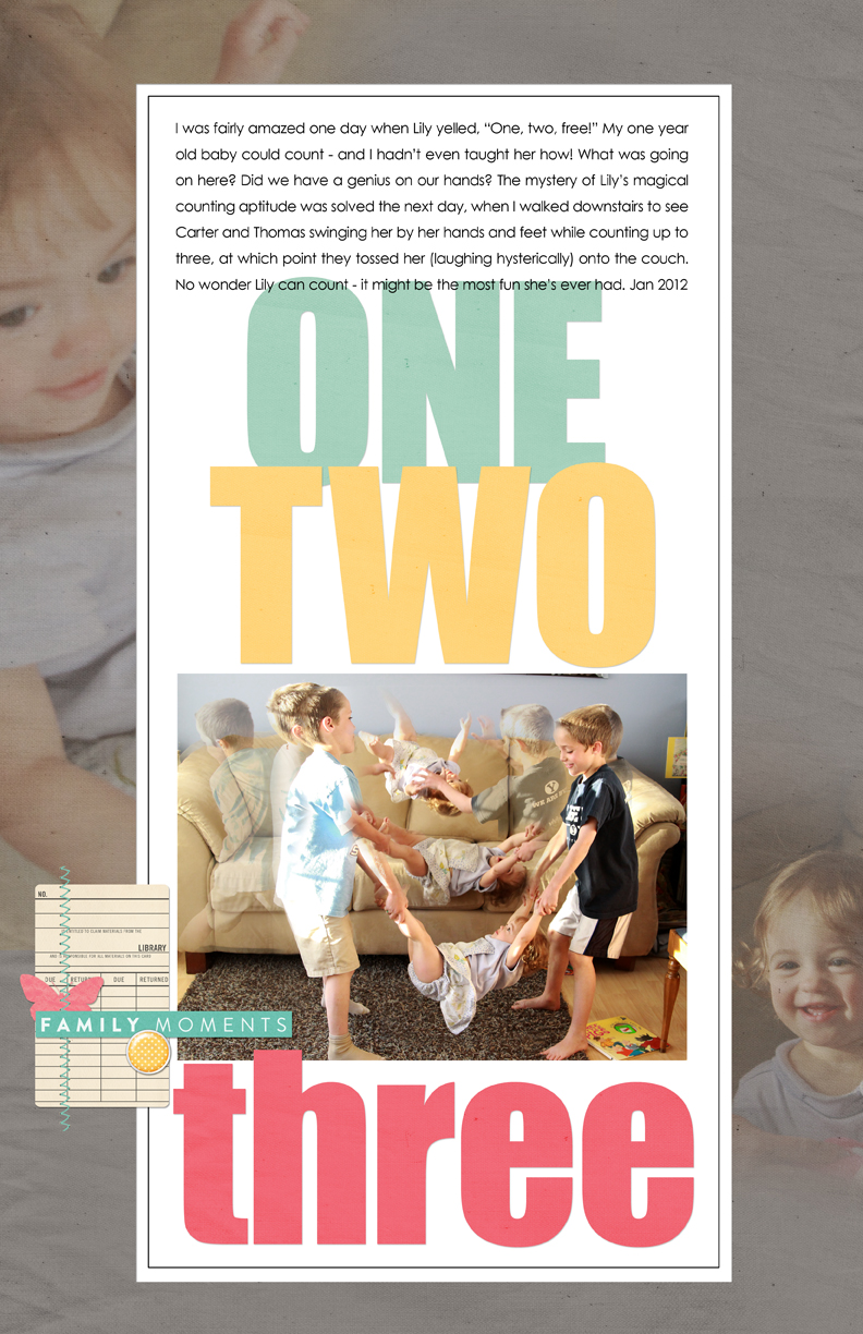 Scrapbook page with photos of kids and journaling