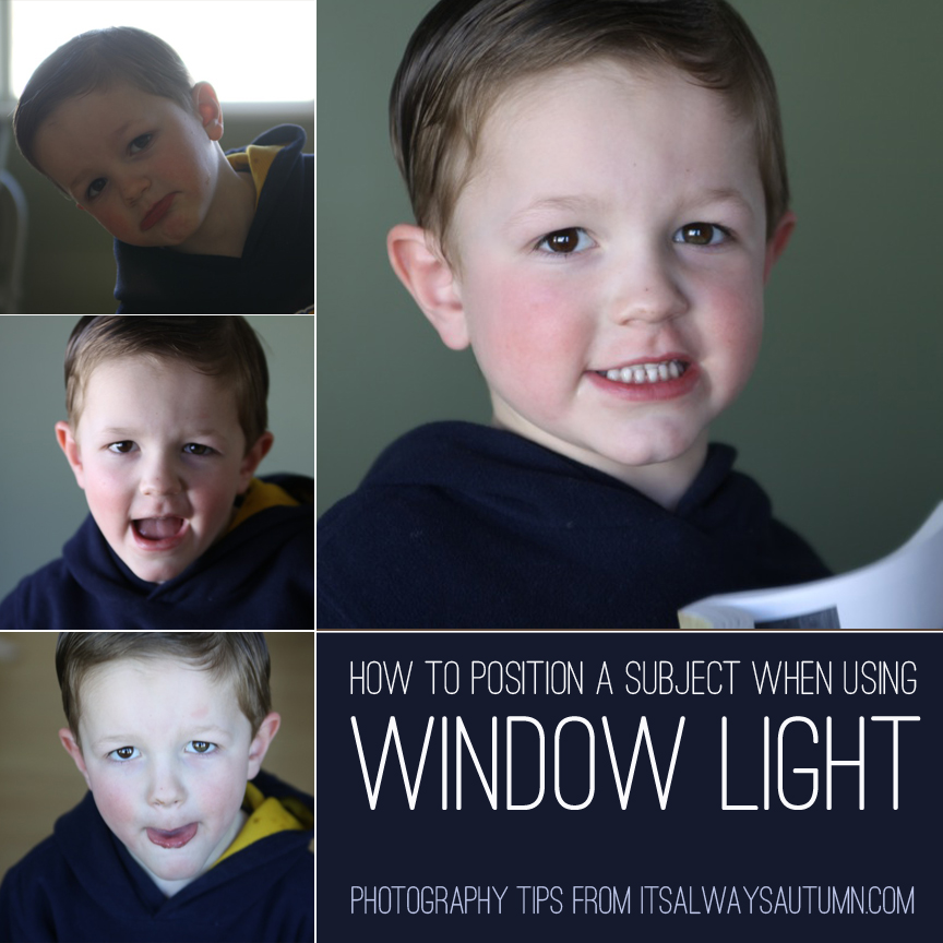 A small child smiling at the camera; how to position a subject when using window light
