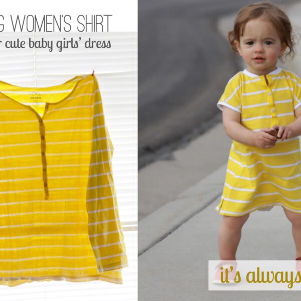 A little girl wearing a yellow dress made from a women's shirt