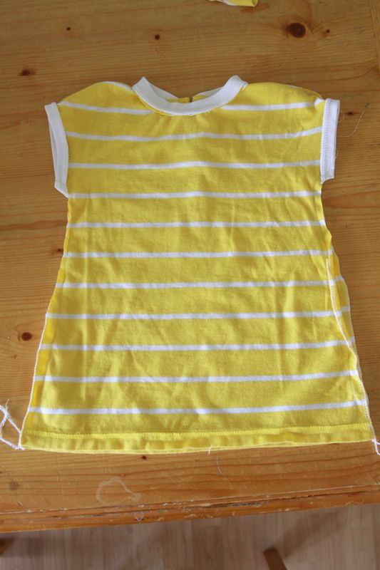 finished yellow baby dress, inside out