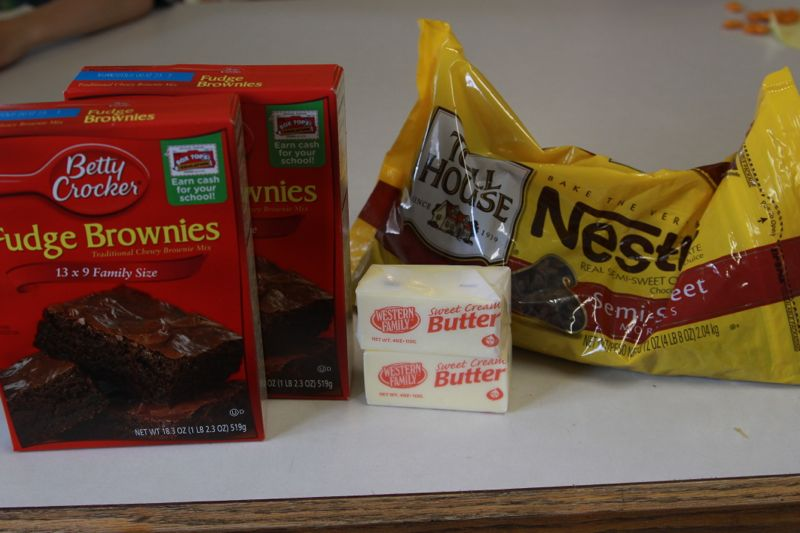boxed brownie mixes, butter, nestle chocolate chips