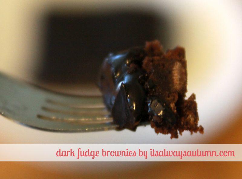 bite of dark fudge brownies on a fork