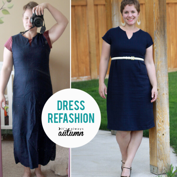 Cute dress refashion! She made it shorter and roomier around the waistline and added sleeves.