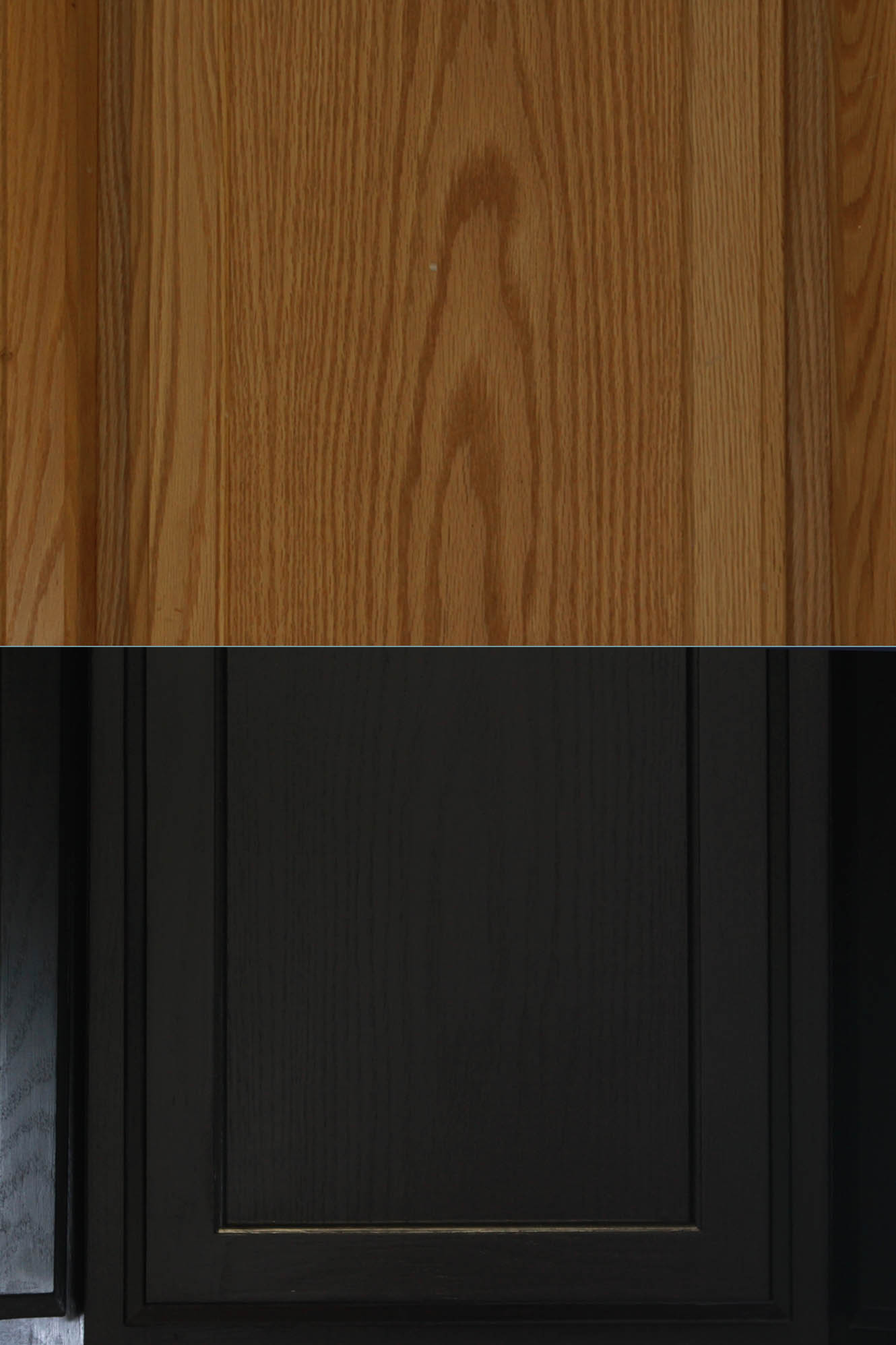 before and after of cabinet door painted black
