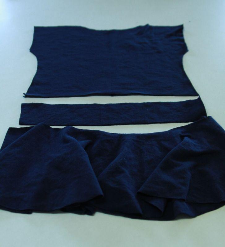 Blue shirt piece, waistband piece, and circle skirt piece