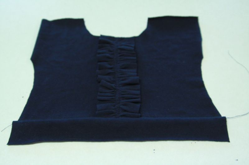 dress bodice front with waistband sewn on