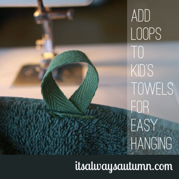 towel with loop sewn onto it