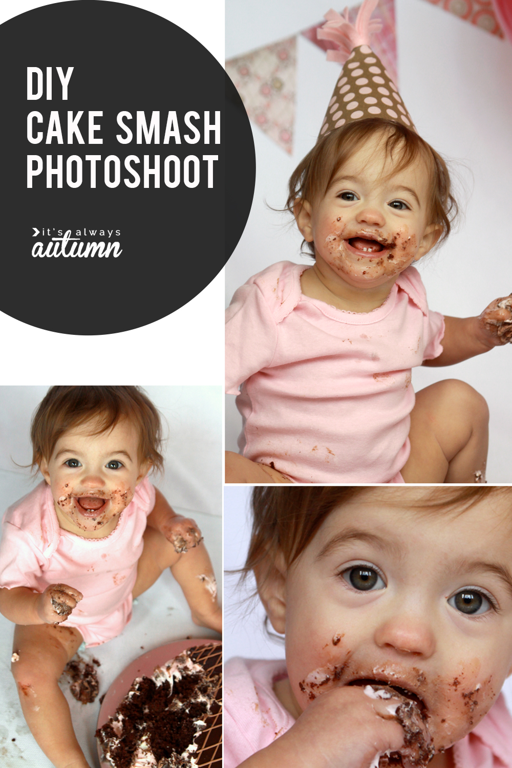 How to set up a DIY cake smash photoshoot at home for great photos of baby's first birthday.