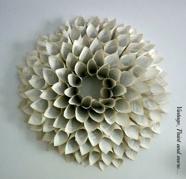 How to decorate with books and book pages - book paper wreath