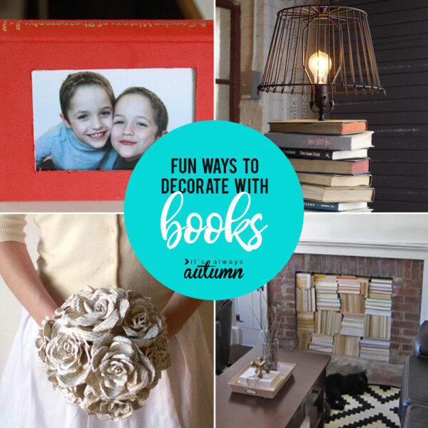 collage of ways to decorate with books