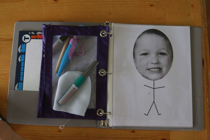 road trip binder with pencil pouch and coloring pages