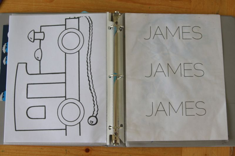 coloring page and name practice sheet in binder