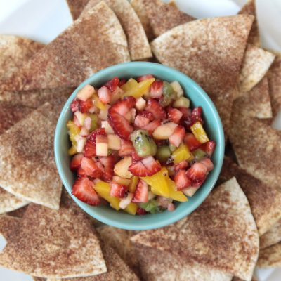 Easy fresh fruit salsa with cinnamon sugar tortilla chips