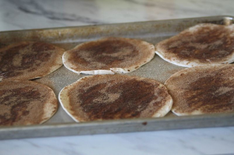 Tortillas brushed with butter and sprinkled with cinnamon sugar