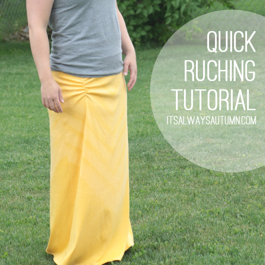Ruching fabric the easy way - how to sew ruching on a yellow maxi skirt.